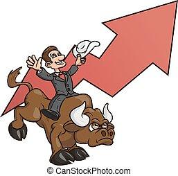 üzletember, 4, lovaglás, bika