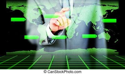 üzletember, aktiváló, kéz
