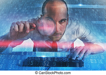 üzletember, alapít, egy, hátsóajtó, belépés, képben látható, egy, computer., fogalom, közül, internet értékpapírok