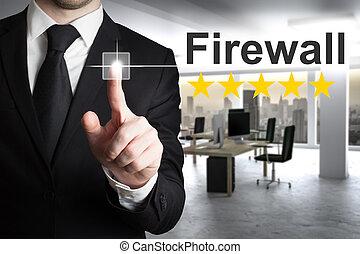 üzletember, alatt, azt, hivatal, rámenős, gombol, tűzfal