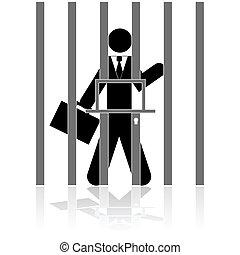 üzletember, alatt, börtön