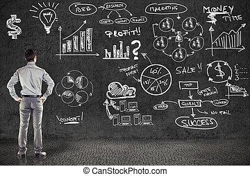 üzletember, alatt, illeszt, és, üzletterv, képben látható, grunge, fal