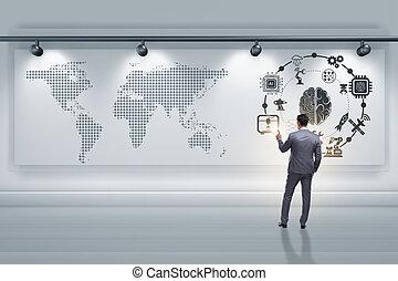üzletember, alatt, mesterséges intelligencia, fogalom