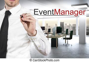 üzletember, alatt, modern, hivatal, írás, esemény, menedzser