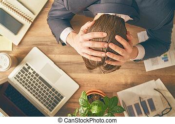 üzletember, alatt, pánik