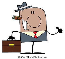 üzletember, amerikai, karikatúra, szórakozottan firkálgat