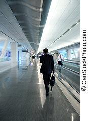 üzletember, -ban, a, repülőtér
