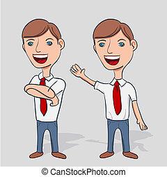 üzletember, betű, karikatúra