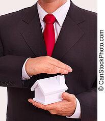 üzletember, birtok, épület, alatt, kézbesít