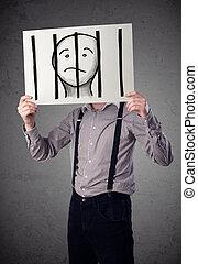 üzletember, birtok, újság, noha, egy, rab, alatt, börtön, mögött, a, rács, képben látható, azt, előtt, övé, fej