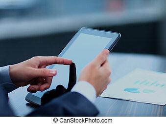 üzletember, birtok, digitális, tablet.