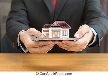 üzletember, birtok, otthon, model., kölcsönad, és, ingatlan tulajdon, fogalom