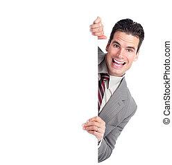 üzletember, boldog, banner.