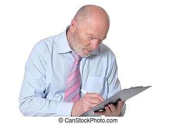 üzletember, csipeszes írótábla, öregedő