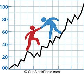 üzletember, diagram, segítség, piros, tinta, fordíts,...