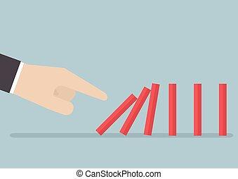 üzletember, dominó, rámenős, hatás, kéz