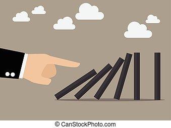 üzletember, dominó, rámenős, tiles., kéz