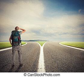 üzletember, előtt, egy, crossway, kell, választ, a, jó el