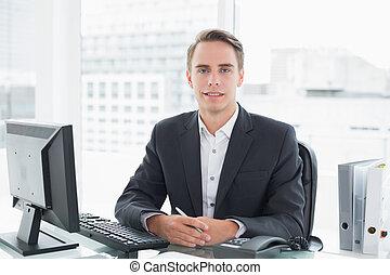 üzletember, előtt, számítógép, -ban, hivatal asztal