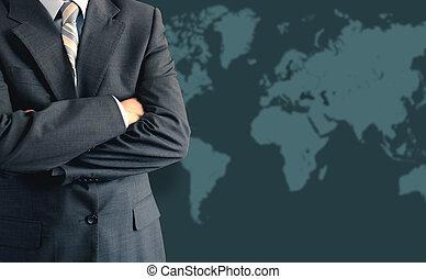 üzletember, előtt, világ térkép