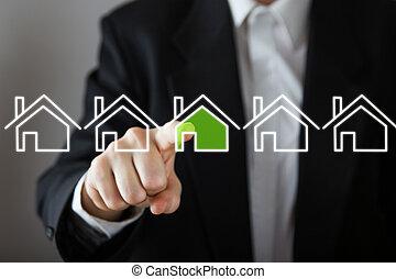 üzletember, eldöntés, épület, ingatlan tulajdon, concept., kéz, nyomás, a, épület, icon., másol világűr