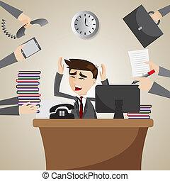 üzletember, elfoglalt, karikatúra, dolgozó, idő