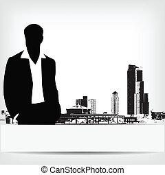 üzletember, elvont, árnykép, háttér