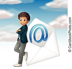 üzletember, email, jelkép, alatt, ég