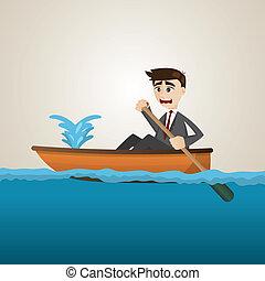üzletember, eresztő, karikatúra, csónakázik