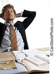 üzletember, esés, munka, alva, fáradt