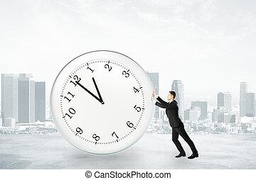 üzletember, fárasztó, fogalom, abbahagy, idő