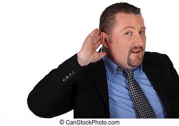 üzletember, fül, övé, kéz