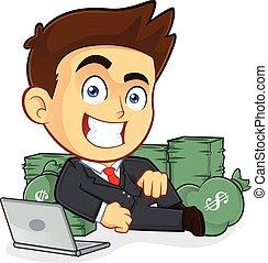 üzletember, fekszik, készpénz, gazdag, mindenfelé