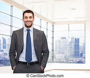 üzletember, fiatal, boldog