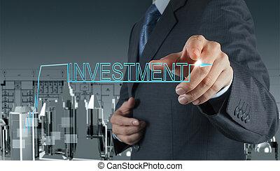üzletember, fogalom, befektetés, hegyezés