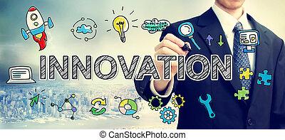 üzletember, fogalom, rajz, újítás