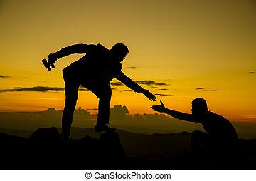 üzletember, gived, kéz, helyett, evez, befog, fordíts, csúcs, közül, hegy