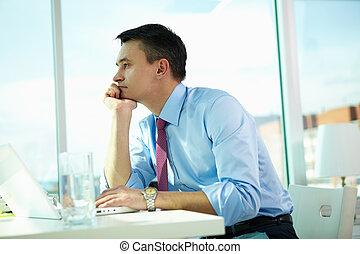 üzletember, gondolkodó