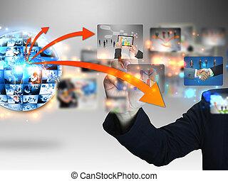 üzletember, gyűjtés, sajtó, ügy