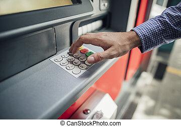 üzletember, használ, készpénz gép