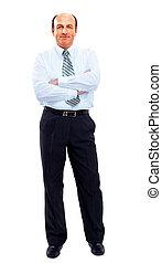üzletember, hosszúság, tele, elszigetelt, fehér