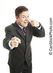 üzletember, -, képben látható, a, orr