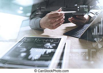 üzletember, kéz, dolgozó, concept., okmányok, pénzel, grafikus, chart., digital tabletta, billentyűzet, dokk, ellenző, számítógép, tervezés, furfangos, telefon, using., eyeglass, képben látható, márvány, desk., nap kiszélesedés, hatás