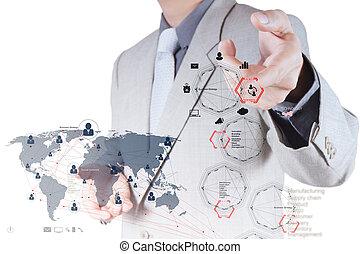 üzletember, kéz, dolgozó, noha, új, modern, számítógép, és, ügy stratégia, és, társadalmi, hálózat, mint, fogalom