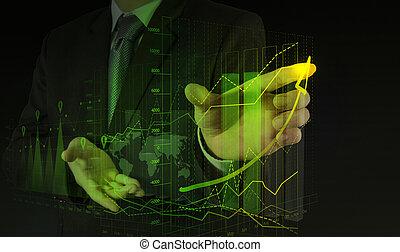 üzletember, kéz, dolgozó, noha, új, modern, számítógép, és, ügy stratégia, mint, fogalom