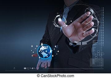 üzletember, kéz, dolgozó, noha, új, modern, számítógép, előadás, társadalmi, hálózat, szerkezet, mint, fogalom