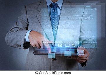 üzletember, kéz, dolgozó, noha, modern technology