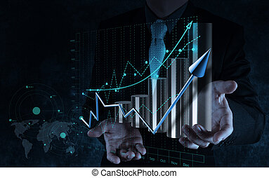 üzletember, kéz, dolgozó, noha, tényleges, diagram, ügy, képben látható, kevés ellenző, számítógép, mint, fogalom