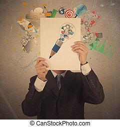 üzletember, kéz, előadás, fekete, fedő, könyv, közül, társas viszony, ügy