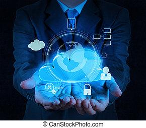 üzletember, kéz, felhő, 3, ikon, képben látható, kevés ellenző, számítógép, mint, internet értékpapírok, online, ügy fogalom